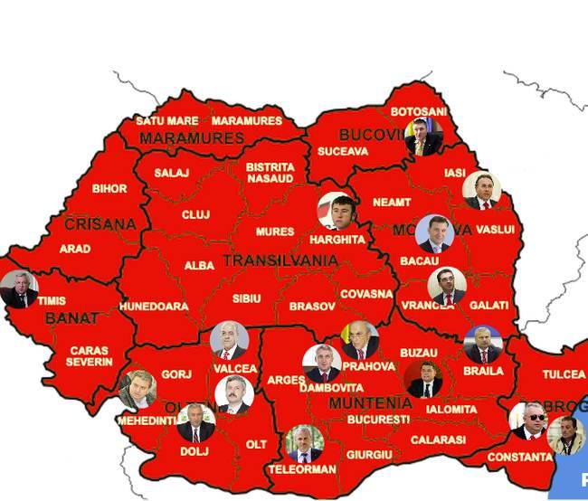 Harta Corupției Din Romania Ințesată Cu Baronii Locali Ai Psd