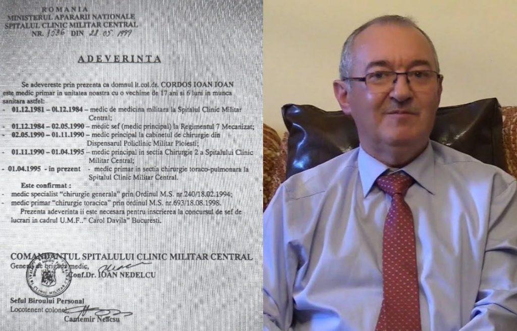 Profesorul Cordoș a lucrat ca medic primar de chirurgie toracică înainte de a fi medic specialist; vrea să devină conducător de doctorat la 65 de ani